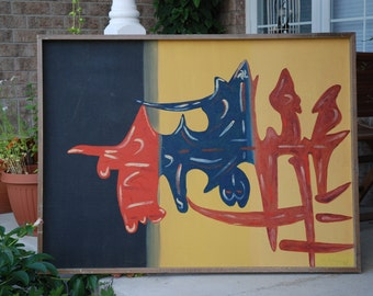 Large painting Abstract art 1970 signed V.STABILE