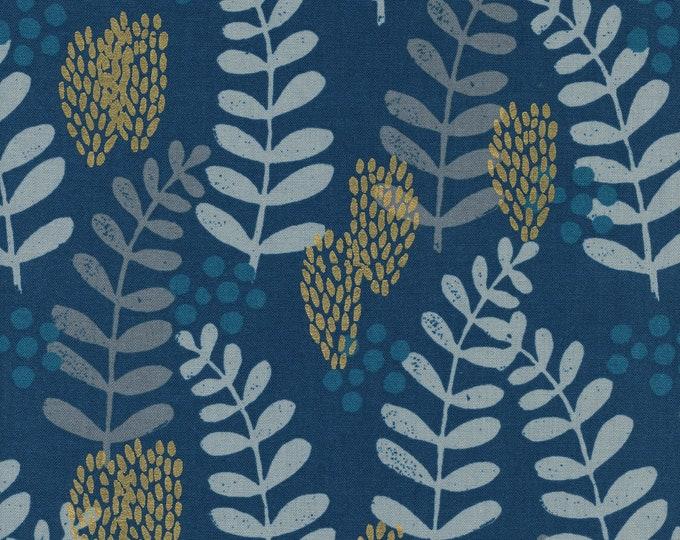 PRESALE: Fern Dell in Navy (cotton, METALLIC) from Imagined Landscapes by Jen Hewett for Cotton + Steel