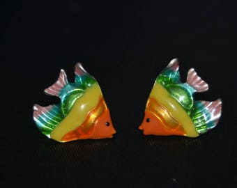 Vintage Rainbow Enamel Fish Earrings Signed MJ