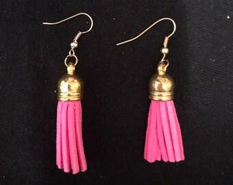 """Pink suede tassel earrings -1.5"""""""