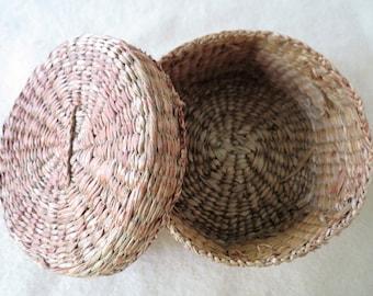 Old Basket - Sewing Basket - Small Antique Covered Thread Basket