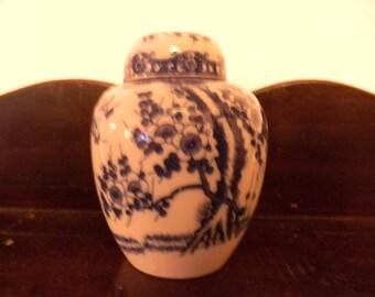 "Vintage Porcelain Chubby Ginger Jar  . 5"" Tall"
