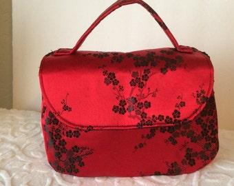 1940's Inspired Handbag/Box Purse/Satin Handbag/Red Evening Bag