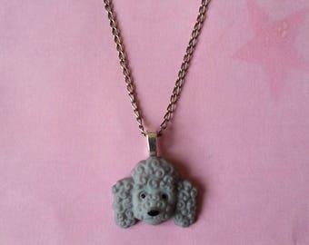 Dog head pendant ♥ ♥ ♥ ♥ grey poodle