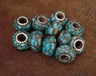 Tibetan Turquoise Mosaic Donut Bead, Silver Plated Brass Detailing