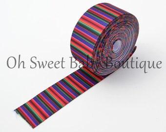 "Purple Serape Zarape Mexican Blanket 7/8"" Grosgrain US Designer Ribbon"