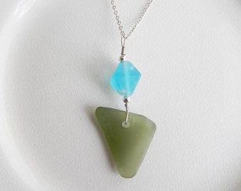 Olive Green Beach Glass Necklace, Genuine Chesapeake Bay Sea Glass Jewelry, Aqua Recycled Glass Pendant, Boho Style