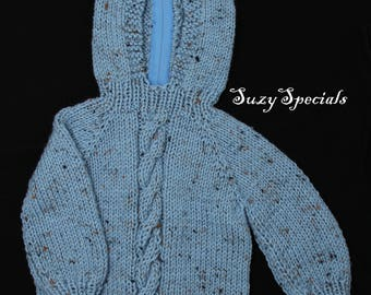Hand Knitted Hooded Baby Sweater with Back Zipper Blue Fleck   Knitted Baby Jumper   Ready to Ship  