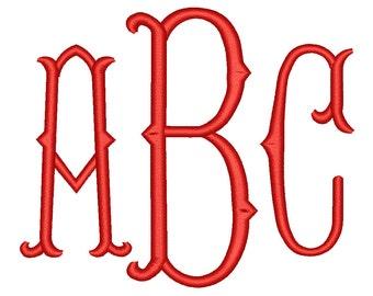 SALE 50% 4 Size Fishtail Monogram 3 Letters Embroidery Font BX fonts Embroidery Fonts, Machine Embroidery Designs