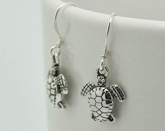 Sea Turtle Earrings, Silver Earrings, Sea Turtle Jewelry, Charm Earrings, Bridesmaid Gift, Gift for Her, Animal, Dangle, Antique Silver