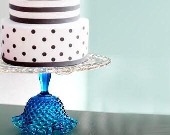 Glass Cake Stand in Cobalt Blue / Vintage Cake Plate / Cake Pedestal Stand / Cake Dish Cake Platter / Truffle Pedestal / Cupcake Stand