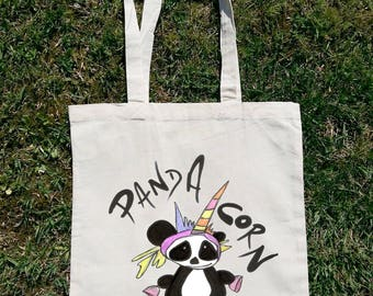 Panda Tote Bag, Unicorn Tote Bag, Panda Corn, Unicornio, Pink Panda, Cute Panda, Panda Illustration, Handpainted Design, Panda Art