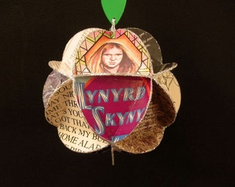 Lynyrd Skynyrd Ornament Made Of Album Covers - Repurposed Record Jackets - Southern Rock Music Decor
