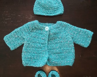 Baby Girl Jacket Hat and Shoes Set 0-3 months Crochet One-of-a-kind