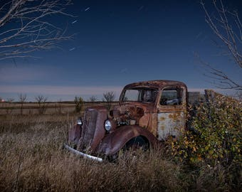 Vintage Ford Truck, Rusty Old Truck, Ford Farm Truck, Abandoned Truck, Rural Landscape