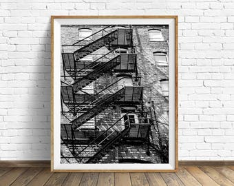 """black and white photography, large art, printable art, instant download printable art, digital download, industrial art -""""Fire Escape No. 2"""""""