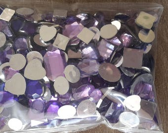 Round purple rhinestone square rectangle oval hearts