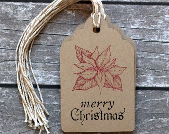 Merry Christmas Poinsettia Handmade Gift Tags with To and From - Set of 8 - Hand Stamped - Double Layer Gift Tags