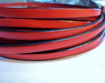 1 Meter Flat 5mm Red Leather cord, leather bracelet finding, jewelry supply,