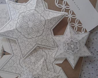 3D Papercraft Star of David Decorations-Passover Coloring Book-5 Printable Designs-Jewish Magen Star Crafts-INSTANT DOWNLOAD by @zebratoys