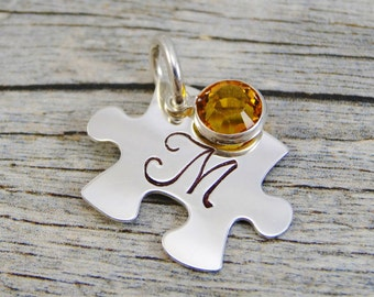 Hand Stamped Jewelry - Personalized Jewelry - Charm For Necklace - Sterling Silver Puzzle Piece - Initial