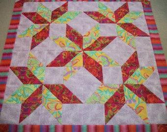 """Handmade Quilt Top~Kaffe Fassett Quilt~Kaffe Fassett Fabric~Lap Quilt~Size 49""""x49""""~Star Quilt~Patchwork Quilt~Stunning Colors"""