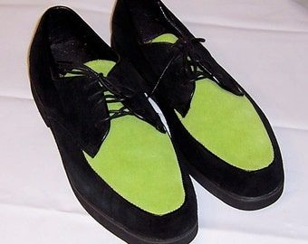 Buffs by Buffalino-Men's Chartreuse and Black Suede Shoes
