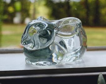 Vintage Mid-Century 1970's Indiana Glass Handmade Crystal Glass Rabbit Votive Holder