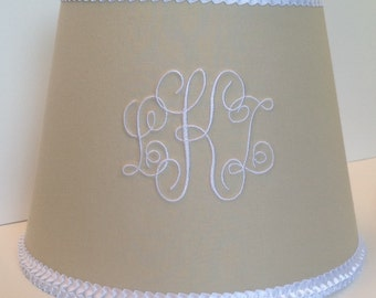 Monogram lamp shade etsy louisa monogrammed lamp shade neutral beigetan and white ruffle trim mozeypictures Image collections