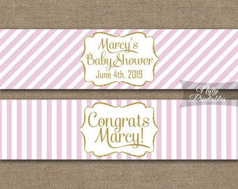 Water Bottle Labels - Pink White Stripe Labels - Pink Gold Party Printables - Pink and Gold Waterbottle Labels - Bridal Baby Shower PGL