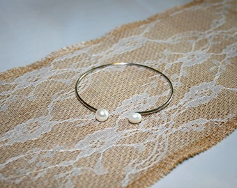 Sterling Silver Bangle, Pearl Bangle, Stacking Bangle, Bridal Bangle, Dainty, Mothers Day