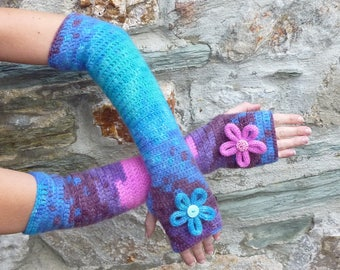 "Long fingerless gloves crochet ""Lollypop"" - one size"
