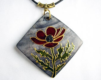 Nature necklace Mother of pearl necklace Red flower pendant Sister gift Wife gift Gift for girlfriend Painted Flower gift Mothers day gifts