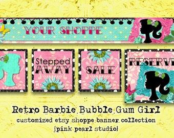 Custom Retro Barbie Bubble Gum Girl Etsy Shop Set, Includes Banner, Avatar, Reserved Listing, On Vacation and Sale
