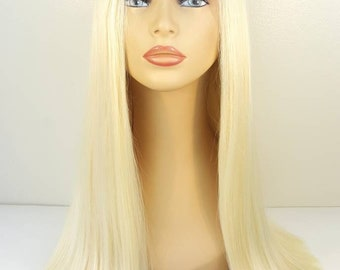 One Length Lace Front Wig, Palest Natural Blonde Lace Front Wig, Multiple Part Lace Front Wig, Blonde Lace Front Wig, Wigs