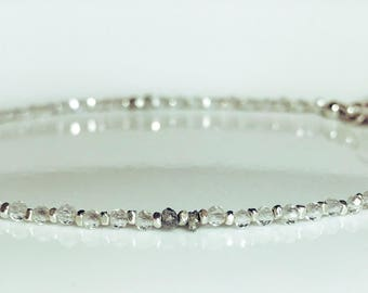 Raue graue Diamanten-Topas, Karen Hill Tribe Silber Armband - Skinny-Edelstein-Armband