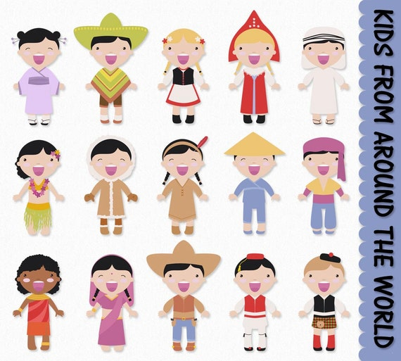 Children from Around the World Clip Art Graphics Kids Clipart