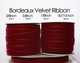 Bordeaux Nylvalour Swiss Velvet Ribbon 3/8inch, 5/8inch, 7/8inch, 1&7/16inch red purple velvet, deep red velvet, zinfandel velvet (390)