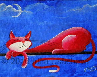 "Original Cat Painting for Sale : Fantasy Cats  ""Sleepy Cat in Red"""