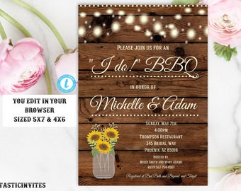 I Do BBQ Couples Shower Invitation Template, BBQ Couples shower, Bbq Invitation, I Do BBq Invite, I Do Bbq, Instant Download, Editable, DIY