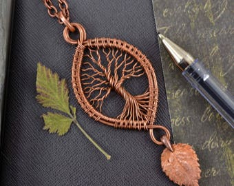 Fairytale gift  Woodland Tree-Of-Life Necklace Copper pendant Wire Wrapped Jewelry Rustic Botanical jewelry Leaf Elfin Pendant Forest Neckla