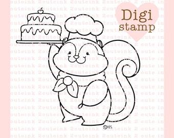 Bake Me A Cake Digital Stamp - Squirrel Stamp - Digital Chef Stamp - Squirrel Art - Baking Card Supply - Baking Craft Supply
