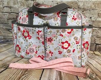 Diaper Bag, Baby Bag, Nappy Bag, Baby Girl Diaper Bags, Baby Shower, Shoulder Strap, Pair Of Stroller Straps, Faux Vegan Leather