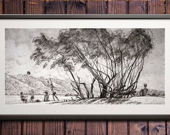 """July noon. Art Original Etching by Zuev Aleksei, 8x17"""" engraving, willow art, summer rest  painting, Black White"""