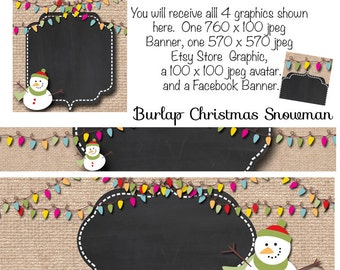 Snowman Etsy Banner, DIY Blank Etsy Banner and Facebook Set - Burlap Christmas Snowman, Christmas Facebook Banner, Holiday Etsy Set