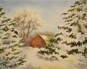 """ORIGINAL Watercolor Red Barn-Frosty Winter Tree Landscape Painting-Snow Covered Trees-11""""x15"""" Medium Wall Hanging"""