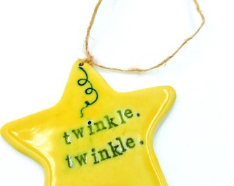 Porcelain twinkle, twinkle star ornament
