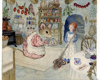 Thumbelina Sweeping - Archival Limited Edition Giclee Print, signed & numbered