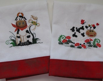 Embroidered 2 Funny Cows Tea Towel, Dish Towel, Kitchen Towel, Red Trimmed Border