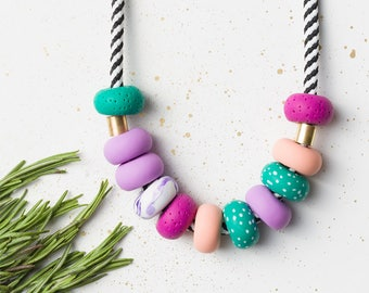 Chunky necklace, Purple, Green, Polymer Clay necklace, Beaded necklace, Colorful necklace, Statement jewelry, Statement necklace, Pink gift